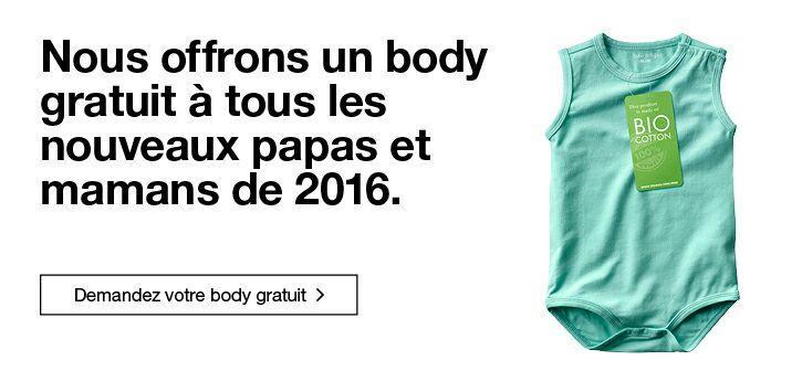 Body en coton biologique gratuit pour les bébés nés en 2016 et en 2017