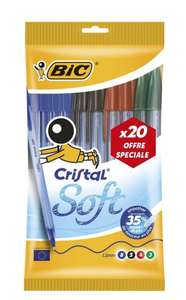 Lot de 20 Stylos-Bille BIC Cristal Soft - Pointe Moyenne (1.2mm), Couleurs Assorties