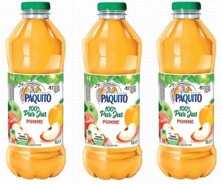 Lot de 3 bouteilles de jus de pomme Paquito - 1L