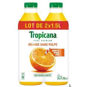 Lot de 3 packs de 2 bouteilles de jus d'orange Tropicana avec ou sans pulpe - 6 x 1.5L