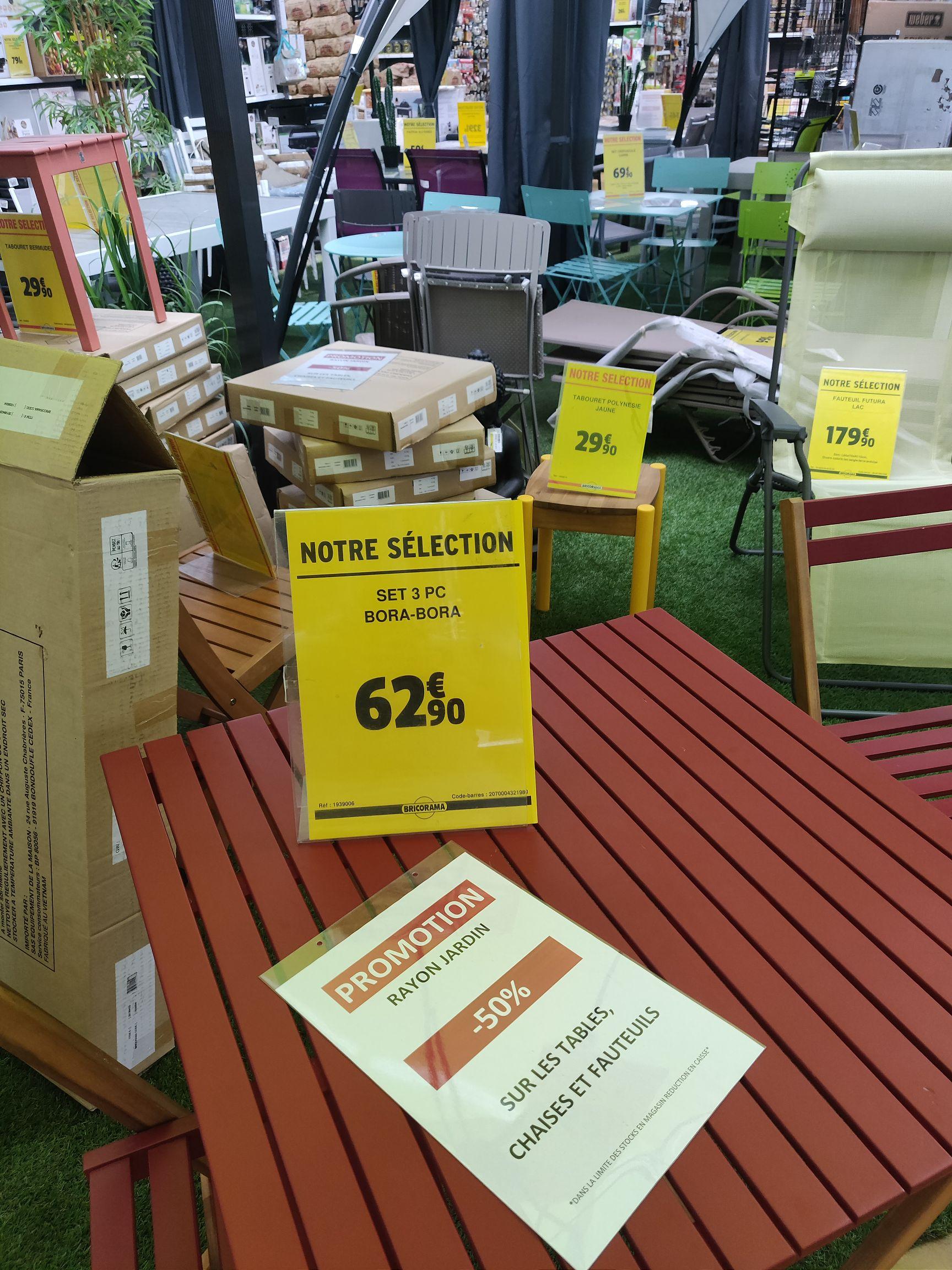 50% de réduction sur le rayon jardin - Ex: Set Table + 2 Chaises Bora-Bora - Villejuif (94)