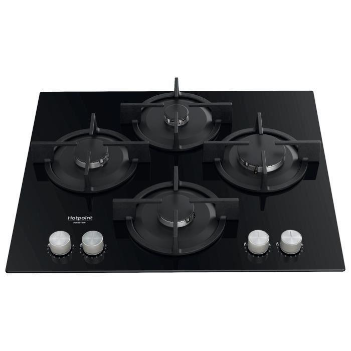Table de cuisson à gaz Hotpoint HAGS61SBK - 4 foyers, 7300W