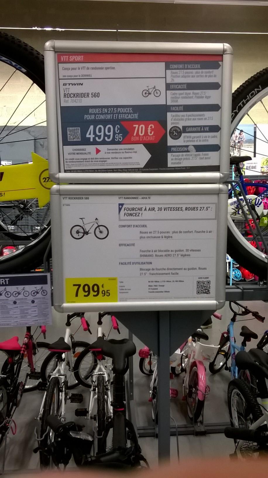 "VTT B'Twin Rockrider 560 (27.5"")  + 70€ en bon d'achat"