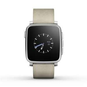 Montre connectée Pebble Time Steel - Argent, bracelet cuir