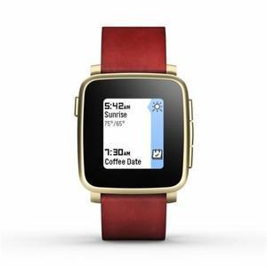 Montre connectée Pebble Time Steel - Or, bracelet cuir rouge