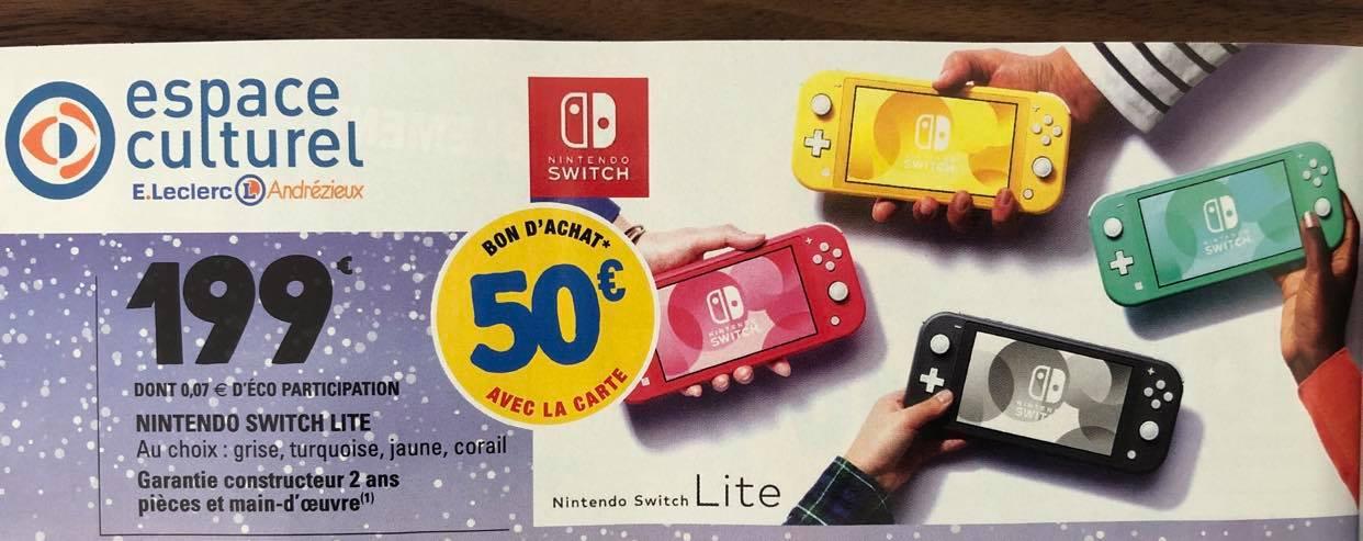 Console portable Nintendo Switch Lite (32 Go, différents coloris) + 50€ en bon d'achat - Andrézieux-Bouthéon (42)
