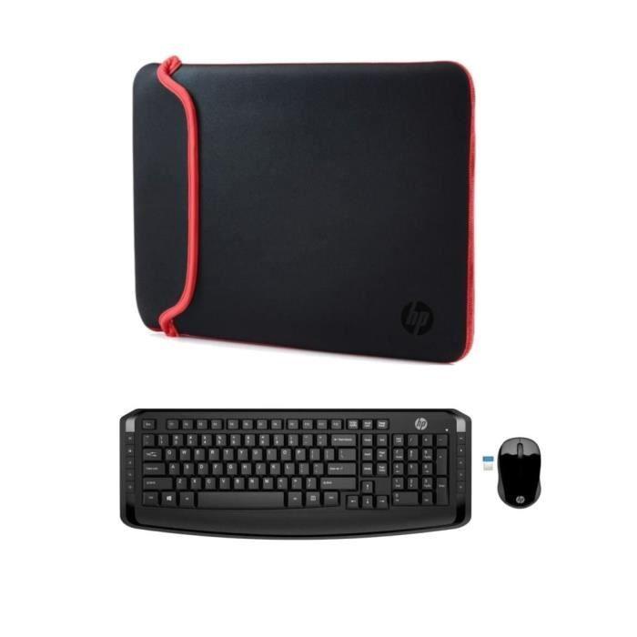 """Pack Clavier & Souris sans fil HP 300 + Housse de protection pour PC Portable 14"""""""