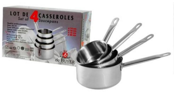 Lot de 4 Casseroles Inox De Buyer Appety 3468.08N - diam. 14/16/18/20cm
