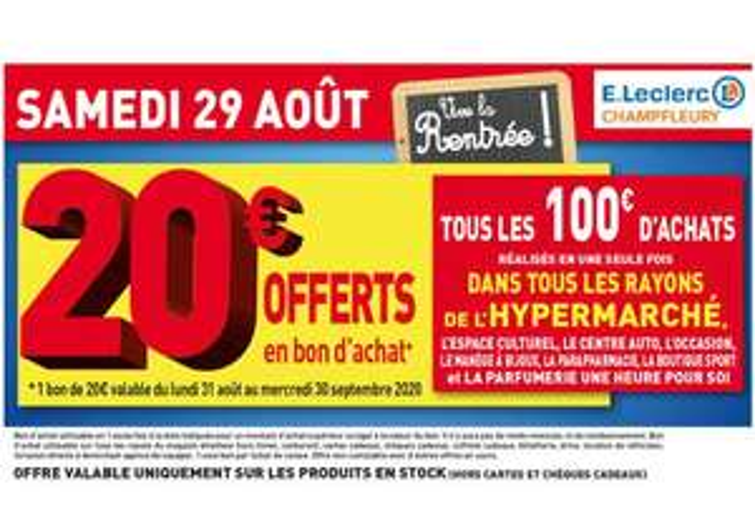 Bon d'achat de 20€ offerts tous les 100€ d'achat sur tout le Magasin (Champfleury 51)