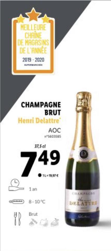 Bouteille de champagne brut Henry Delattre AOC - 37.5 cl
