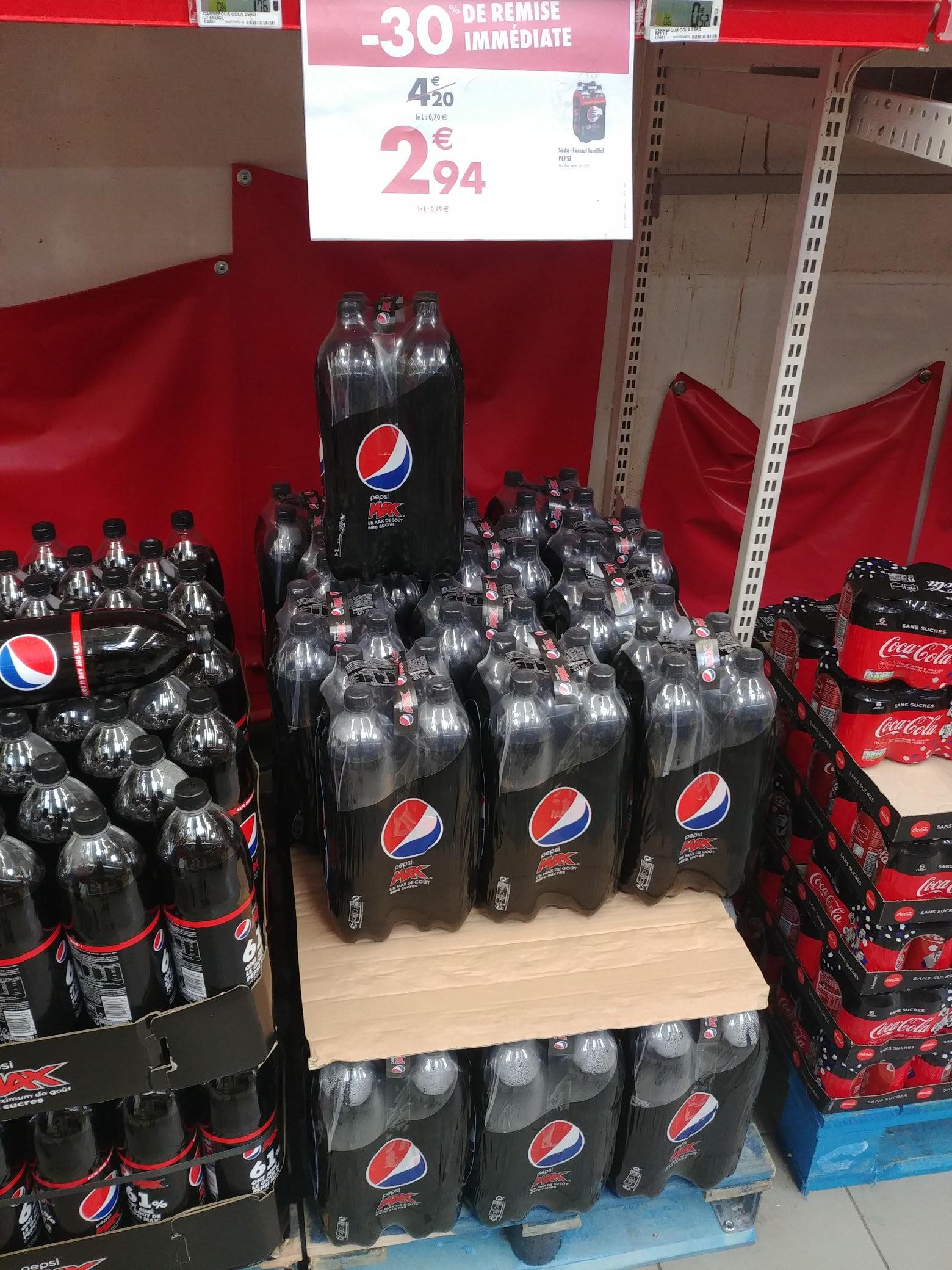 Pack de 4 bouteilles de soda Pepsi Max (4x1.5 L)
