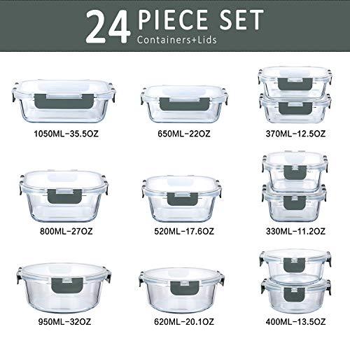 Lot de 12 boîtes de conservation en verre avec couvercle (24pcs) (Vendeur tiers)