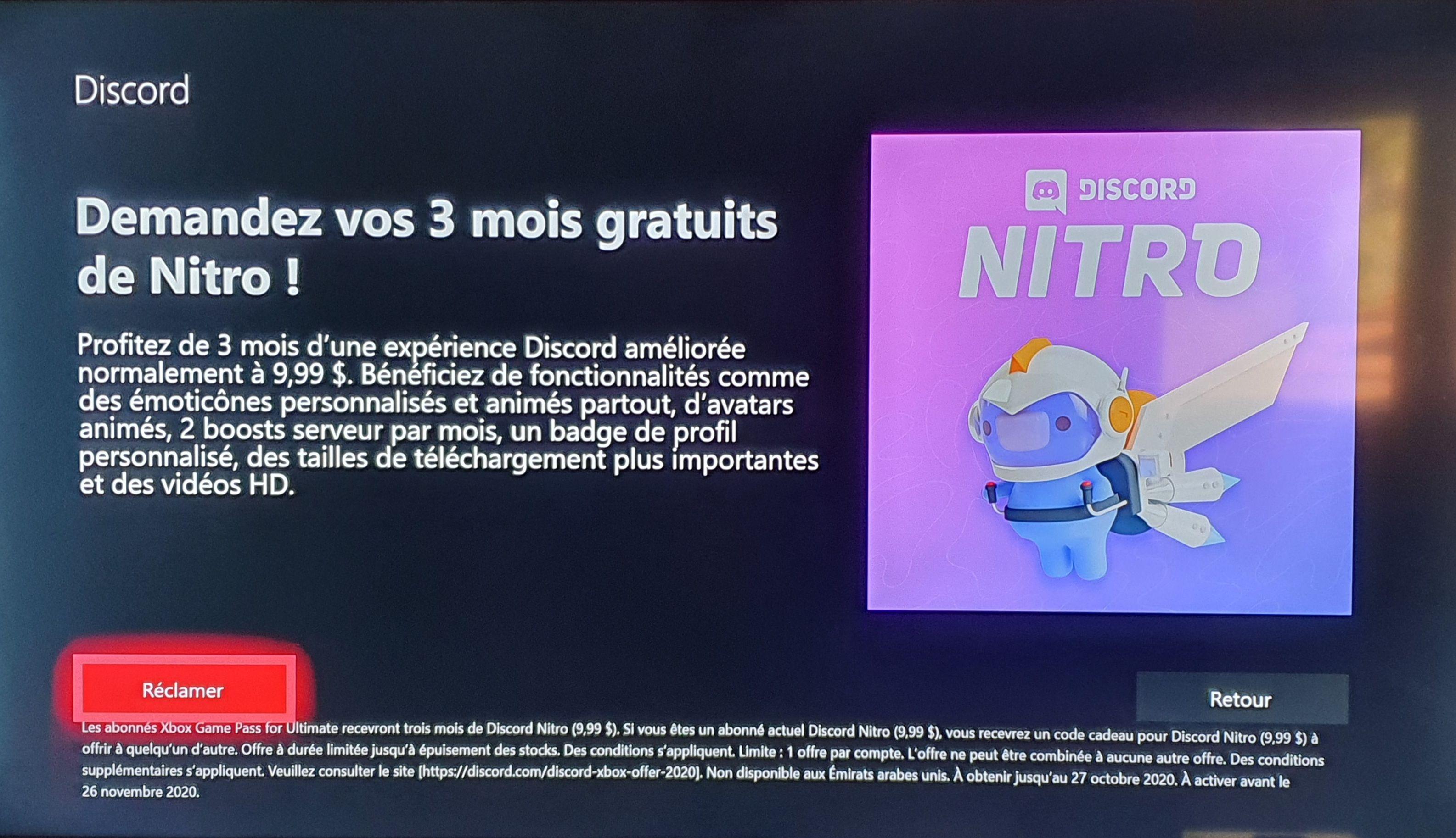 [Game Pass Ultimate] 3 mois d'abonnement gratuits à Discord Nitro (Via Console)