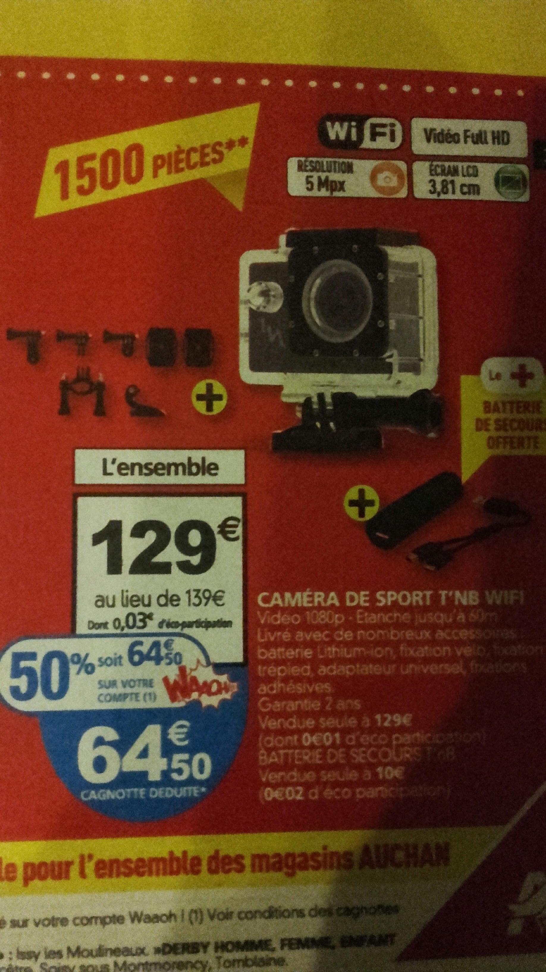 Caméra sportive T'nb Wifi - 1080p avec accessoires (avec 64.50€ sur la carte)
