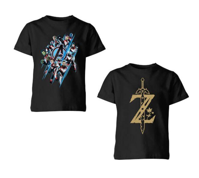 Lot de 2 T-Shirts pour Enfant à 12.98€ - Ex : Master Sword - The Legend Of Zelda Nintendo (Noir) + Avengers: Endgame Logo Team (Noir)