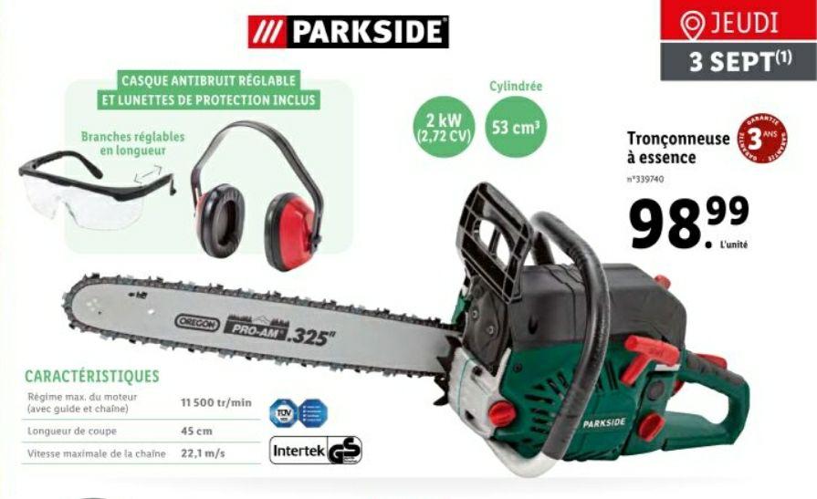 Tronçonneuse à essence Parkside - 53cm²