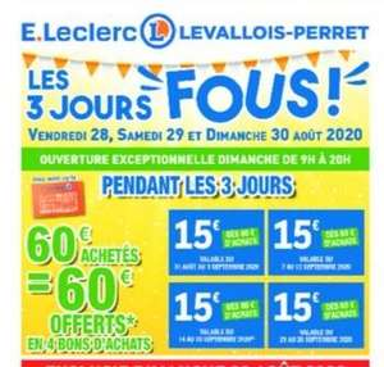 60€ dépensés = 60€ offerts en 4 bons de 15€ dès 60€ d'achat - Levallois (92)