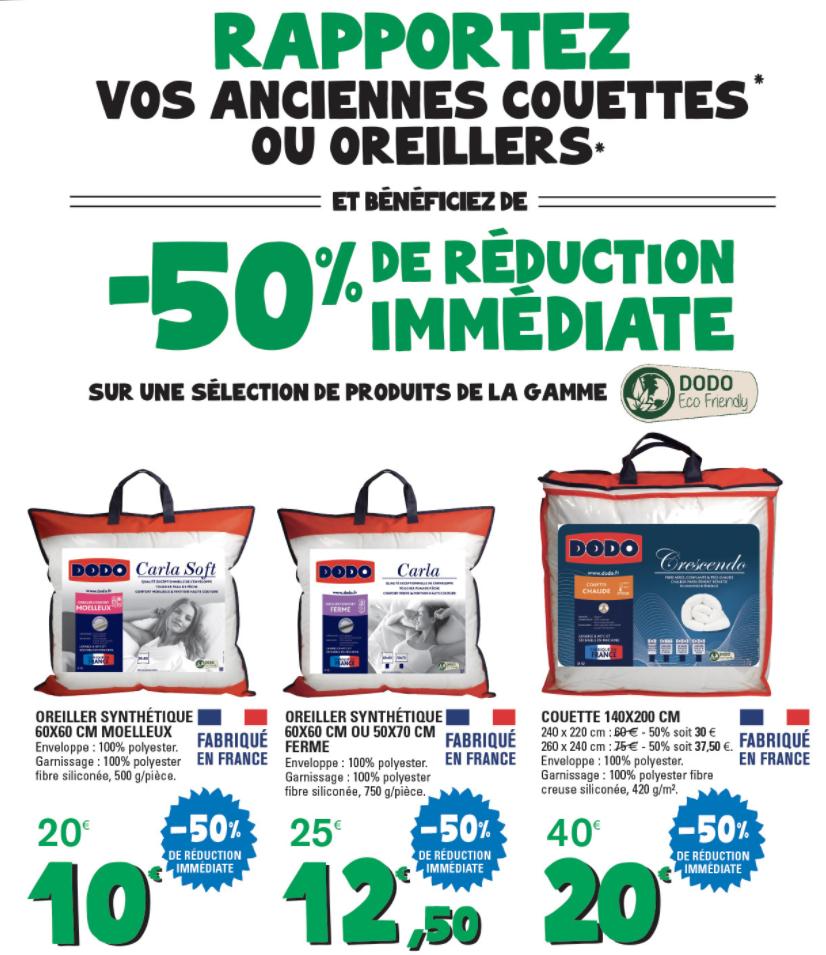 50% de réduction sur une sélection de oreillers et couettes Dodo (via reprise d'un ancien article) - Ex : Couette Crescendo (140 x 200 cm)