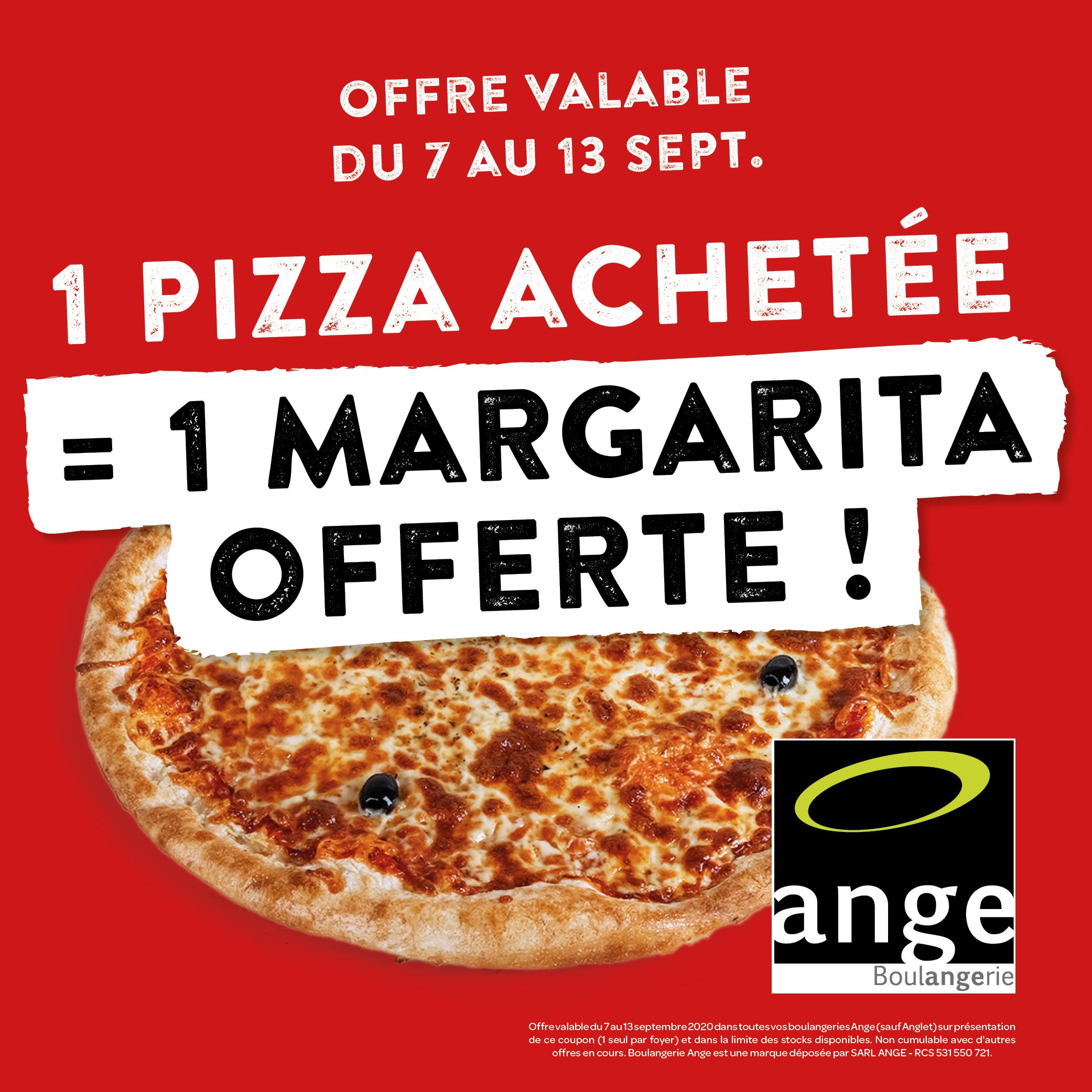 1 Pizza achetée = 1 Margarita offerte - Boulangeries Ange