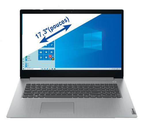 "PC Portable 17.3"" Lenovo ideapad 3 17ADA05, HD+, ryzen 5 3500U, 8 Go de RAM, 1 To + 128 Go en SSD, Windows 10"