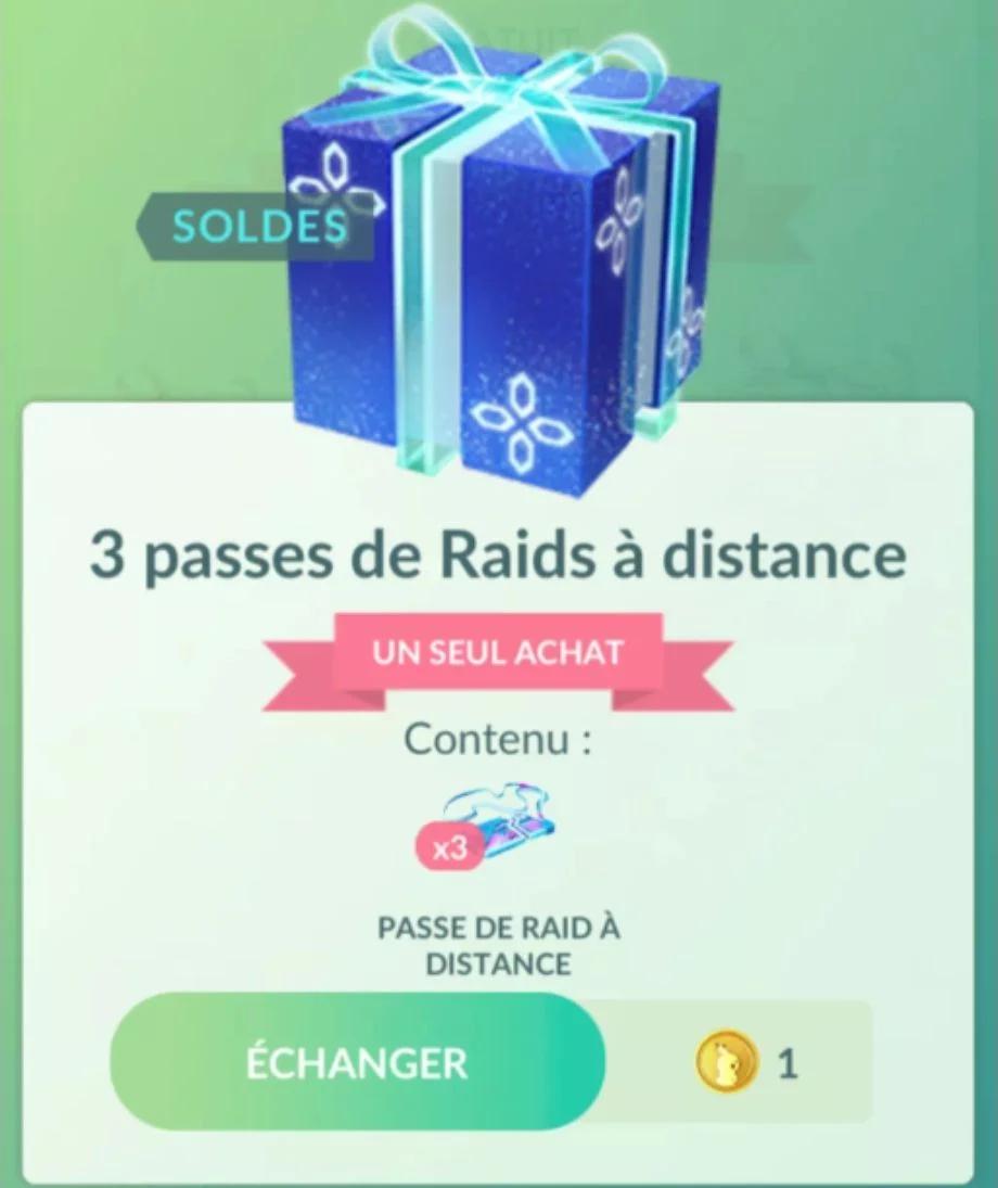 Lot de 3 Passes de Raids à Distance pour 1 PokéPièce sur Pokémon Go (dématérialisés)