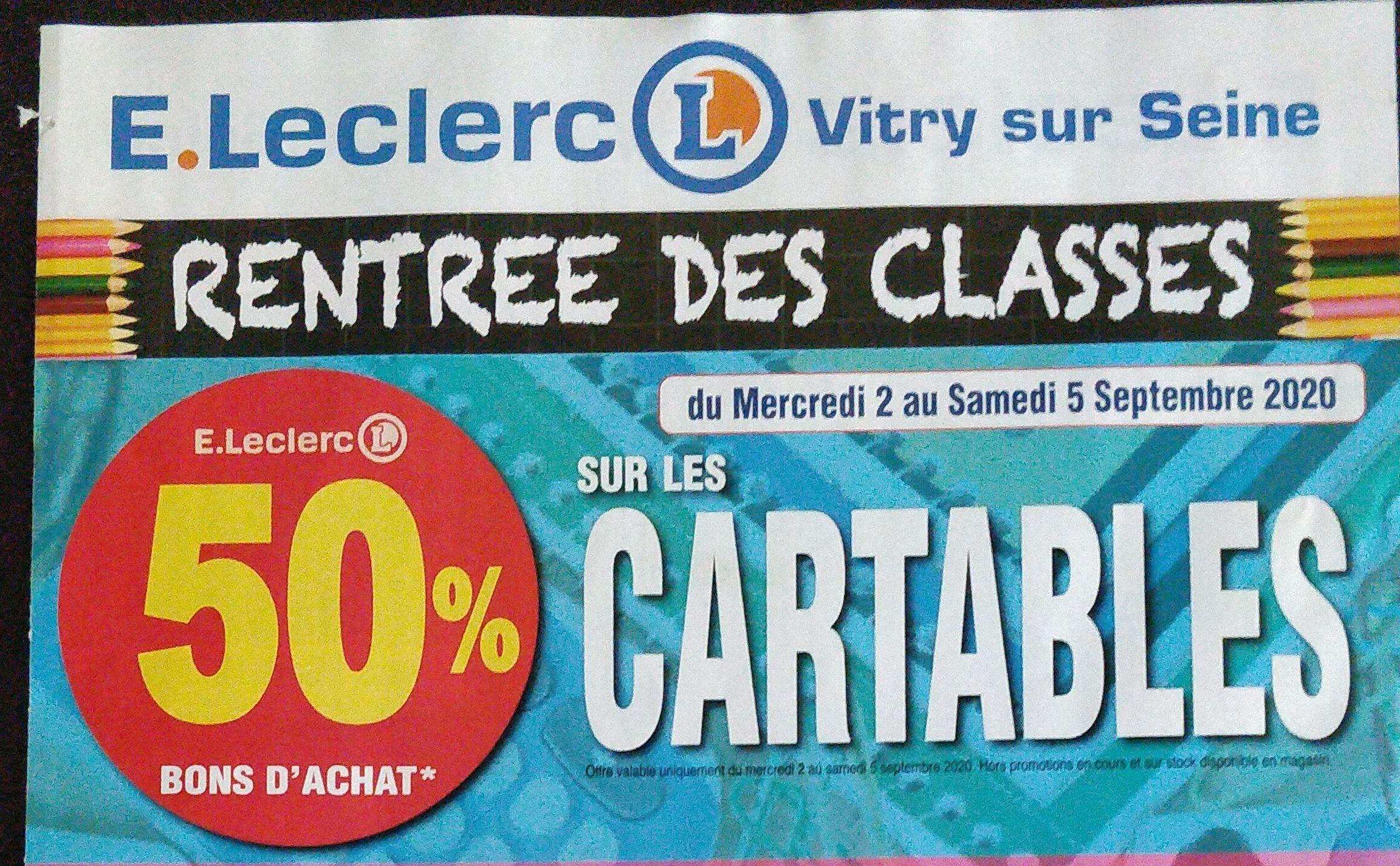 50% remboursés en bon d'achat sur les cartables (valable sans minimum d'achat) - Vitry-sur-Seine (94)