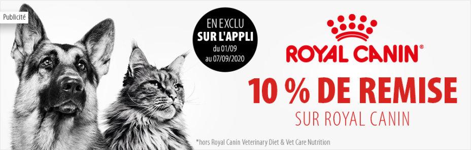 10% de réduction sur les produits Royal Canin pour chats & chiens (hors exceptions, via l'application)