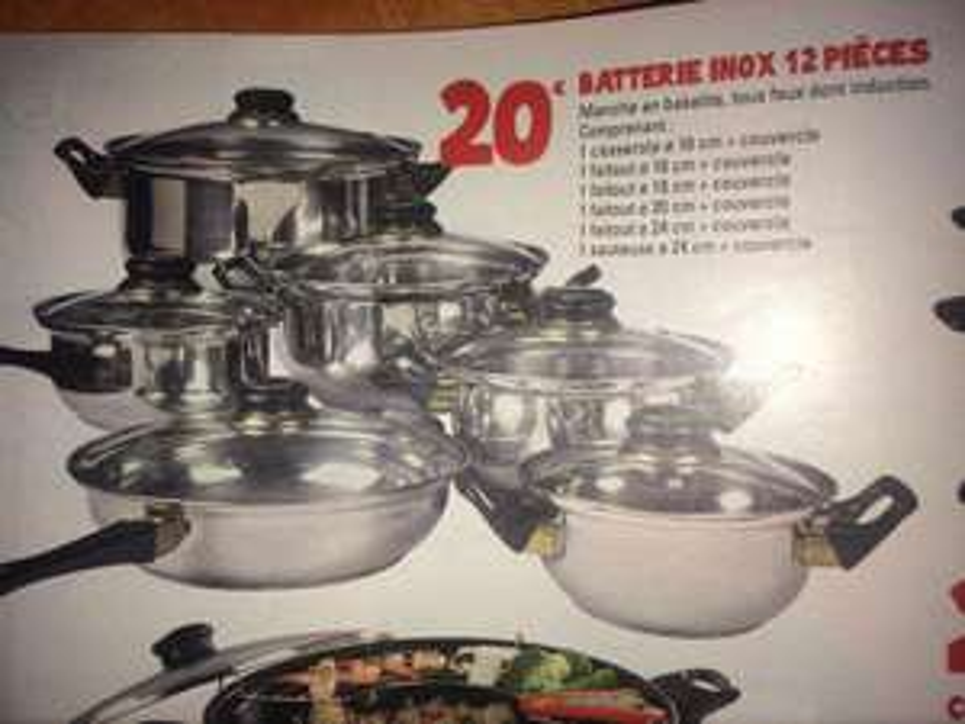 Batterie de cuisine en inox - 12 pièces
