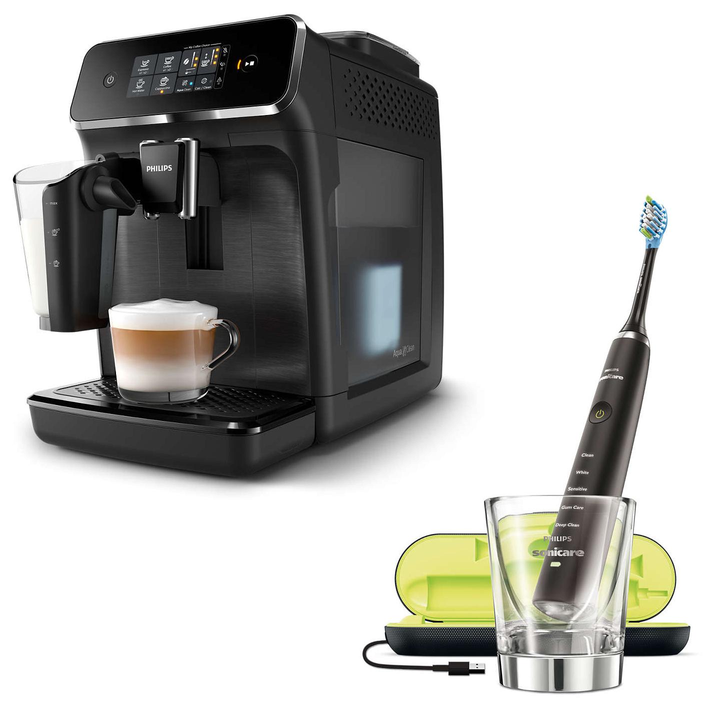Machine expresso café grains avec broyeur Philips Series 2200 EP2230/10 + Brosse à dents électrique Philips Sonicare DiamondClean HX9359/89