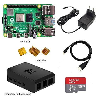 Kit Raspberry Pi 4 modèle B (2 Go) + Boitier + Heatsinks + Câble HDMI + Carte microSDXC SanDisk (32 Go)