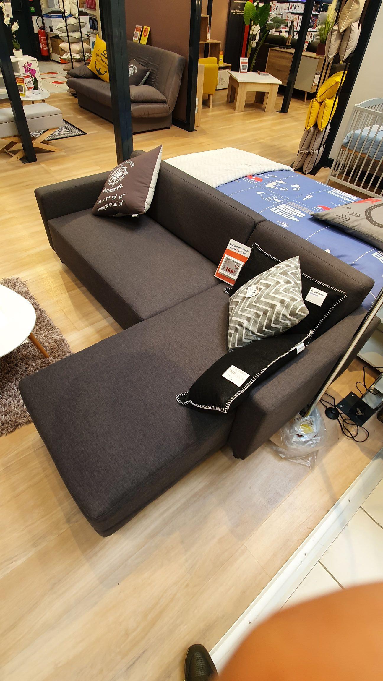 Canapé d'angle réversible Bob - 3 places, Tissu gris anthracite, Géant casino Quimper (29)