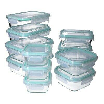 Set de 12 Boites alimentaires en verre Georges + 12 Couvercles hermétiques à 4-clic Compatibles lave-vaisselle, micro-ondes et four