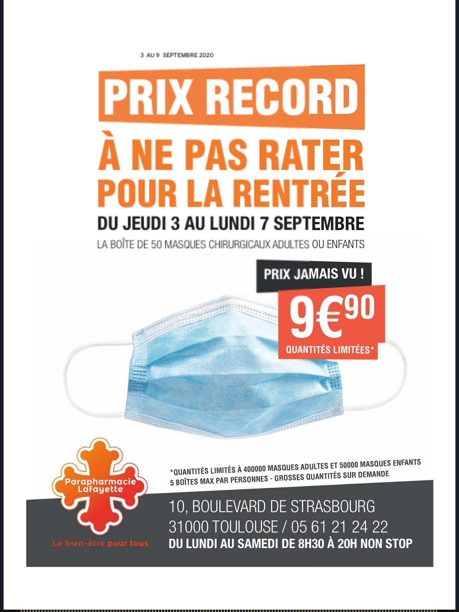 Boîte de 50 masques de protection chirurgicaux (adulte ou enfant) - Parapharmacie Lafayette Toulouse (31)