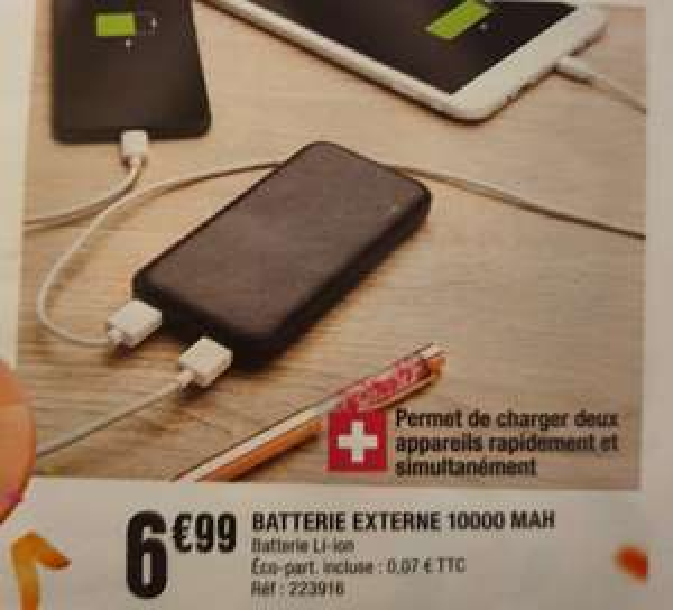 Batterie externe 10000 mAh avec 2 Ports