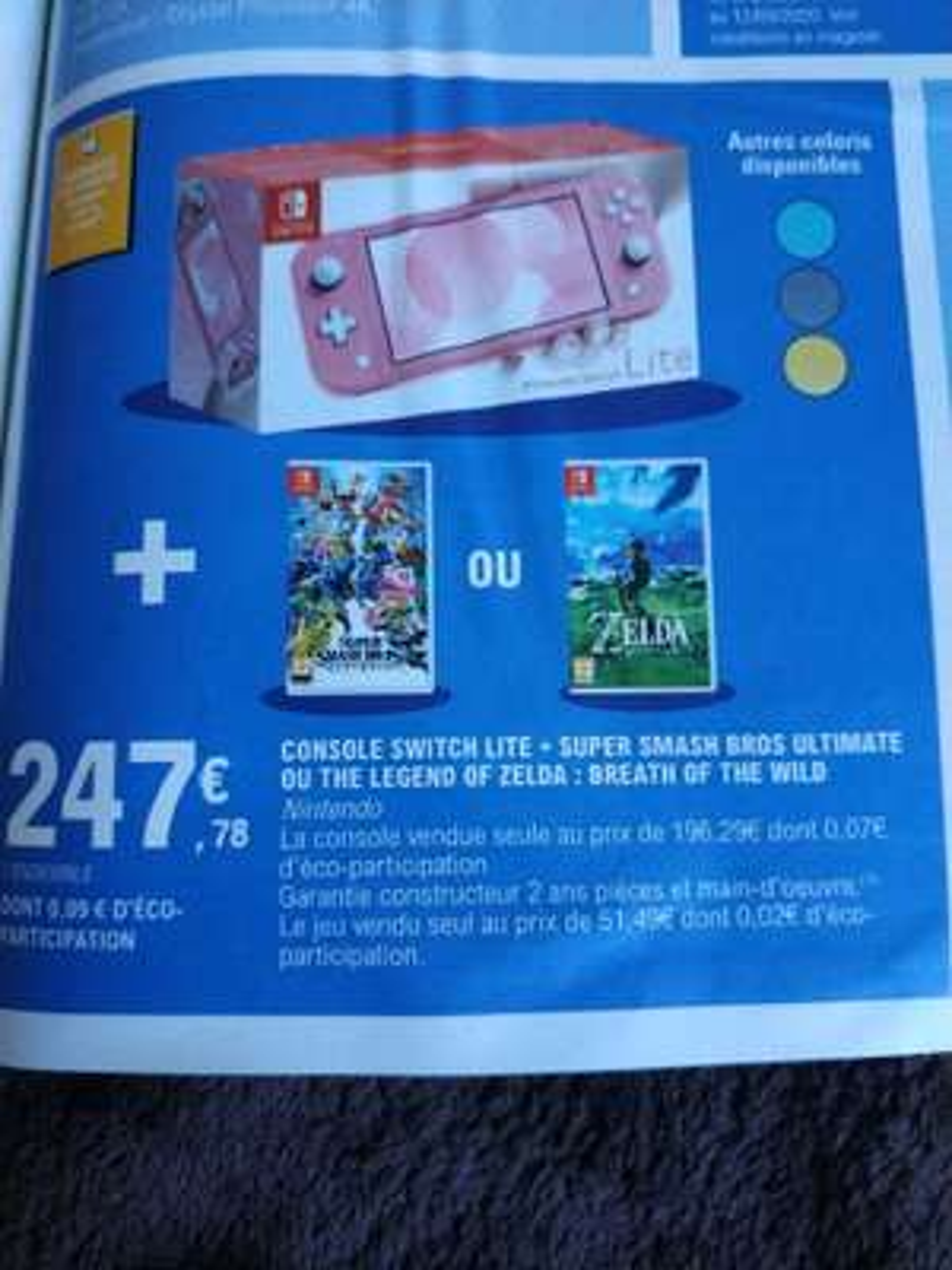 Console portable Nintendo Switch Lite - Plusieurs coloris + Jeu The Legend of Zelda ou Super Smash Bros