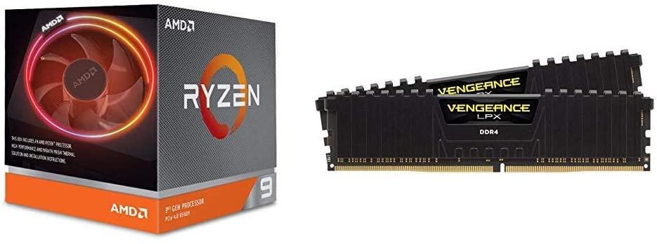Processeur AMD Ryzen 9 3900x + Kit mémoire Ram DDR4 Corsair Vengeance LPX 16 Go (2x8Go) - 3200MHz, C16