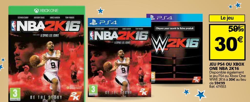 50% de réduction sur une sélection de jeux PS4 et Xbox One (via Hypergames) - Ex :WWE 2K16