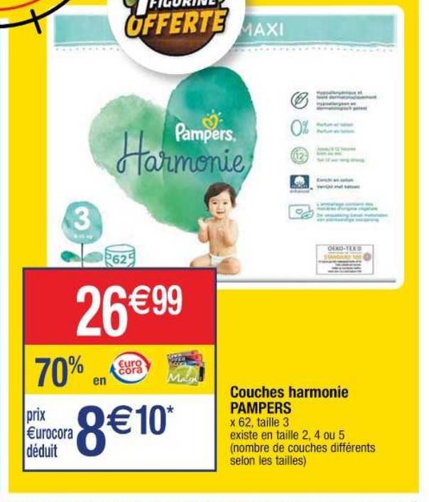 Pack de couches Pampers harmonie - Nombre différents suivant tailles (via 18,89 € sur la carte de fidélité + BDR)