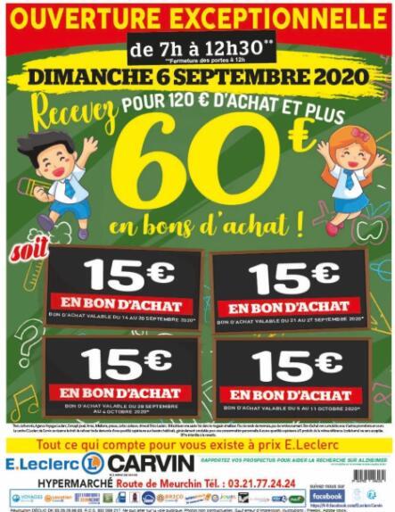 120€ d'achat en magasin = 60€ offerts sous forme de 4 bons d'achat de 15€ - Carvin (62)