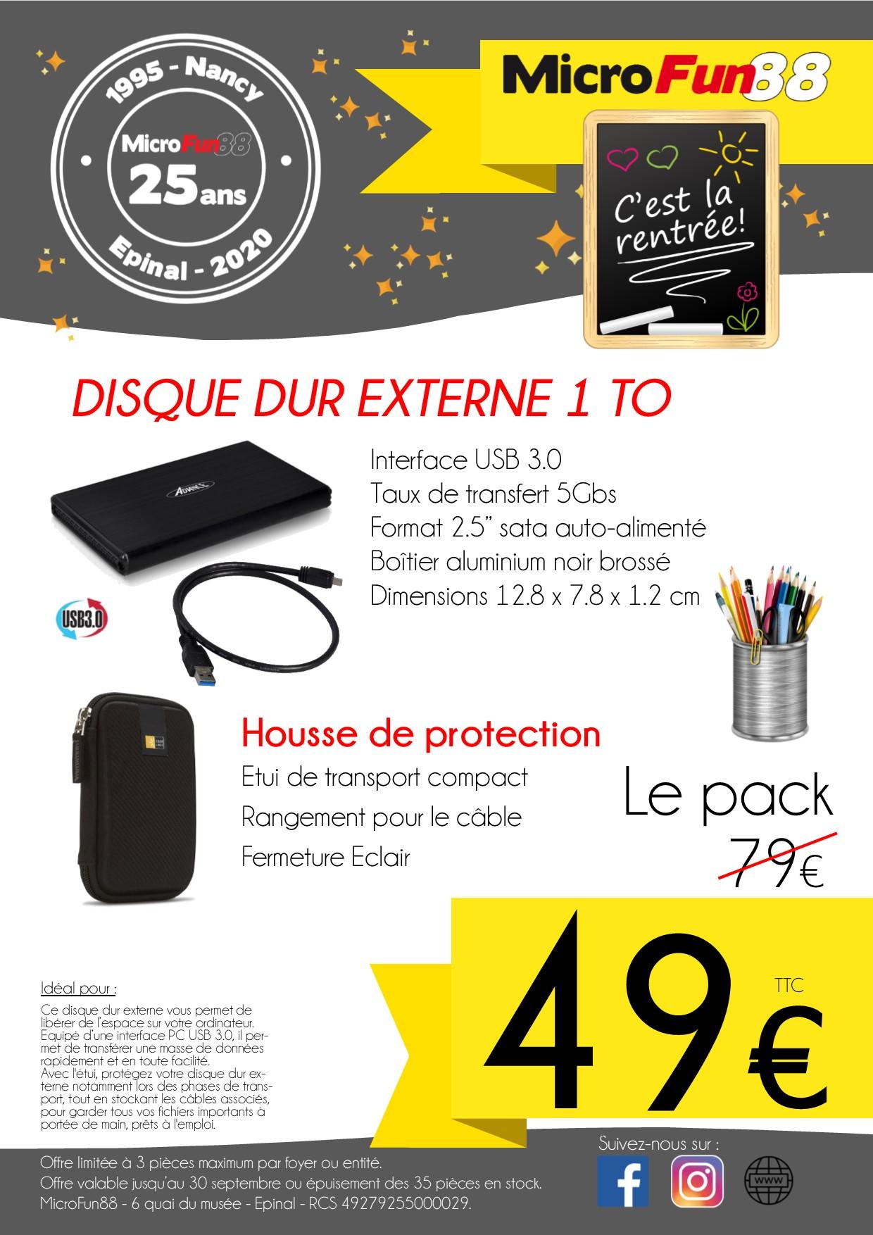 """Disque Dur externe USB3.0 2.5"""" 1To + Housse de protection Case Logic - MicroFun88 Épinal (88)"""