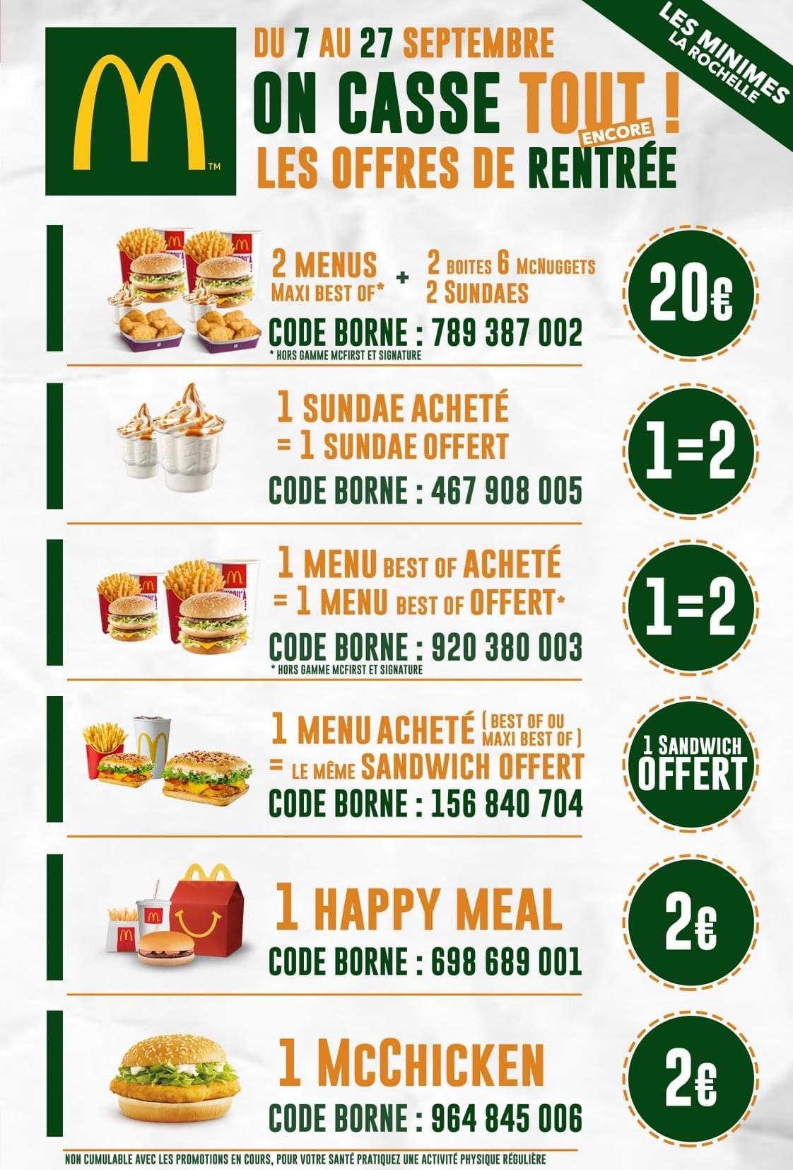 2 Menus Maxi Best Of + 2 boîtes de Nuggets + 2 Sundae à 20€ - La Rochelle (17)