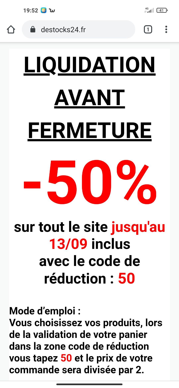 50% de réduction sur tout le site et le magasin - destocks24 Marsac-sur-l'Isle (24)