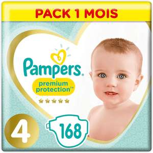 Pack de 168 couches Pampers Premium Protection Taille 4 (9-14kg)