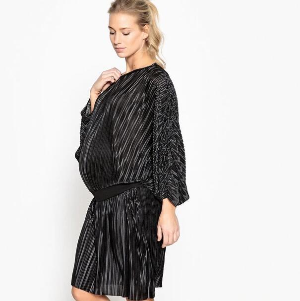 Robe de grossesse plissée avec élastique - Tailles S à M