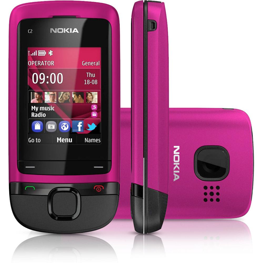 Téléphone Nokia C2-05 Rose avec mobicarte