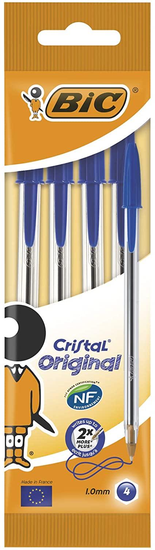 Sélection de crayons Bic en promotion - Ex : pack de 4 stylo-billes Bic Cristal Original - bleu