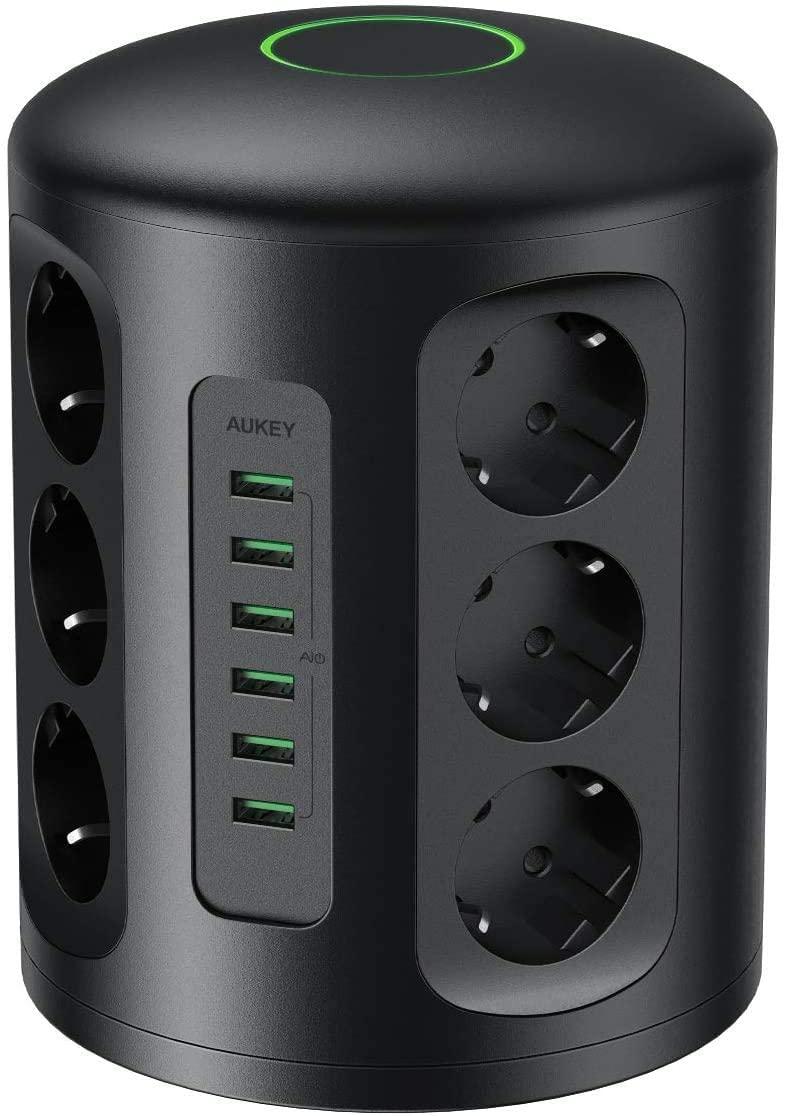 Multiprise Aukey PA-S14 - 6 ports USB et 12 prises secteur (Vendeur tiers)