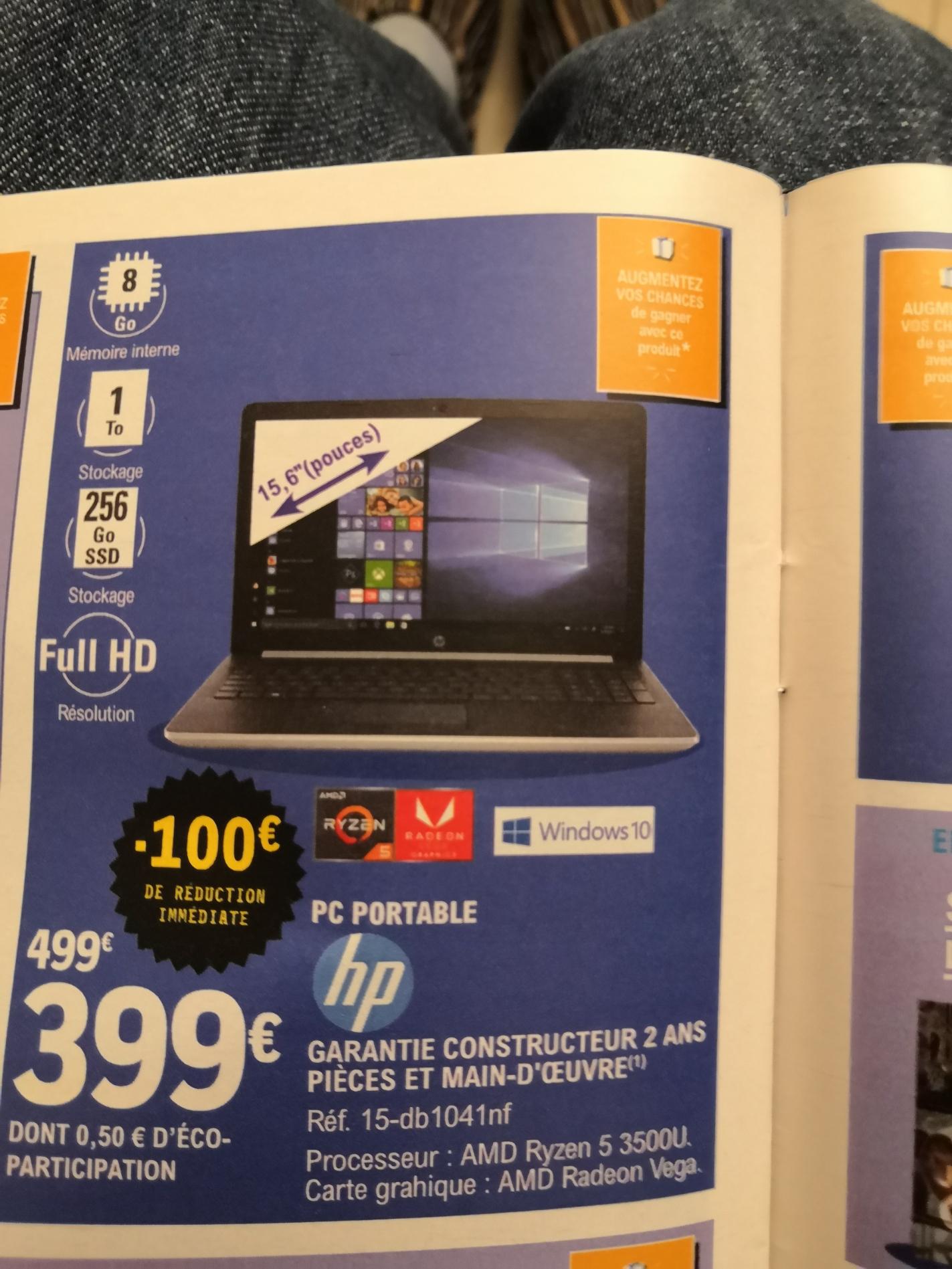 "PC Portable 15,6"" HP 15-db1041nf - Full HD SVA, Ryzen 5 3500U, 1 To HDD, 256 Go SSD NVMe M.2, Vega 8, Windows 10"