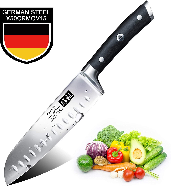 Couteau de cuisine Santoku Shan Zu - Acier, 18 cm