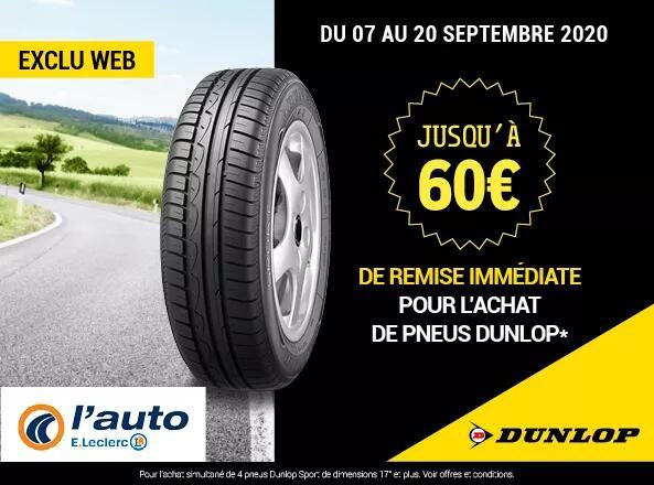 Jusqu'à 15€ de réduction par pneu sur la marque Dunlop Sport - Ex : Pneu été 225/45 R17 94Y à 53.90€ (107.80€ les 2)